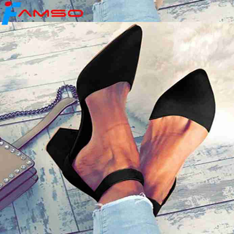 FAMSO 2018 Women Sandals Big Size 34-43 Pointed Toe Retro Style Ankle-Wrap Prom Pumps Shoes Summer Female Black Sandals Heels 2016 plus size 42 43 44 45 sandals tassel design women pumps retro style open toe square heels women summer shoes free shipping