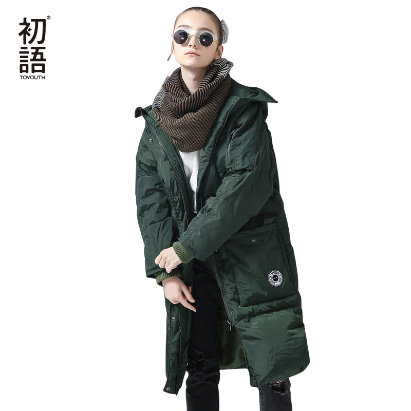 Toyouth   Down   Jacket Winter Long Hooded   Down   Parkas 80% White Duck   Down   Parka Female Thicken Warm Solid Green Outerwear   Coat