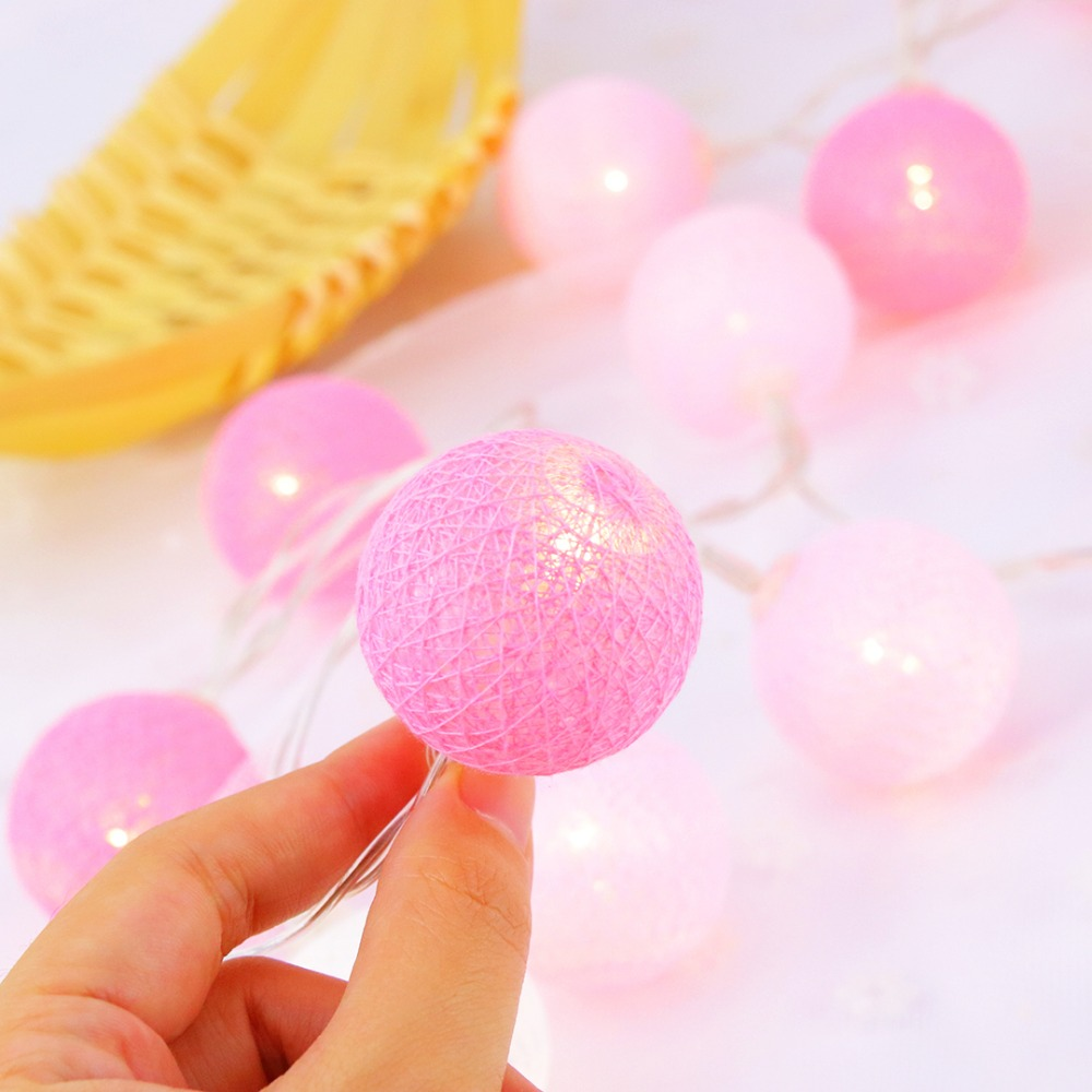 1.2m Led String Lights 3.5cm Dia Cotton Balls Strings Lighting Fairy Christmas Wedding Birthday Party Lanterns Decoration Jq