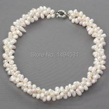 Колье ожерелье из настоящего жемчуга крученое ожерелье рисовое колье жемчужное свадебное ожерелье многожильный жемчуг белое пресноводное жемчужное ожерелье