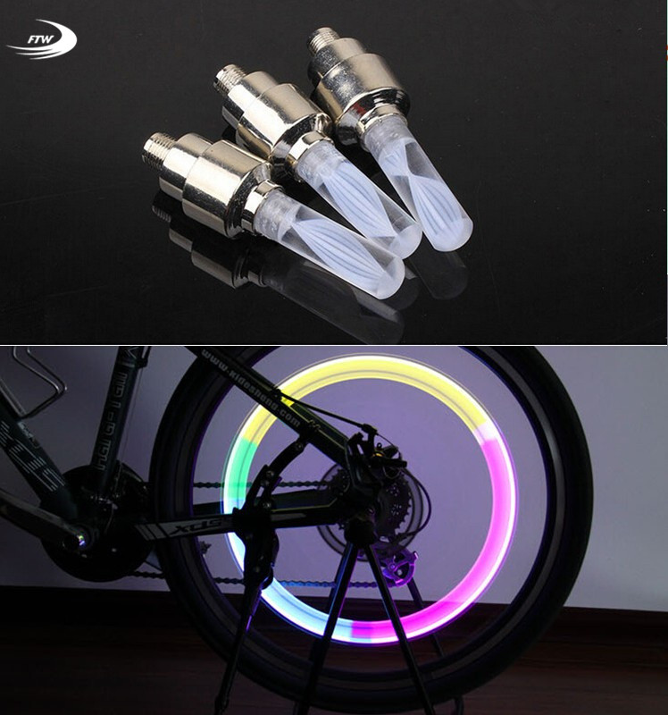 1pcs bike lights mtb mountain road bike bicycle lights LEDS Tyre Tire Valve Caps Wheel  spokes LED Light auto lamp lamps BL0133