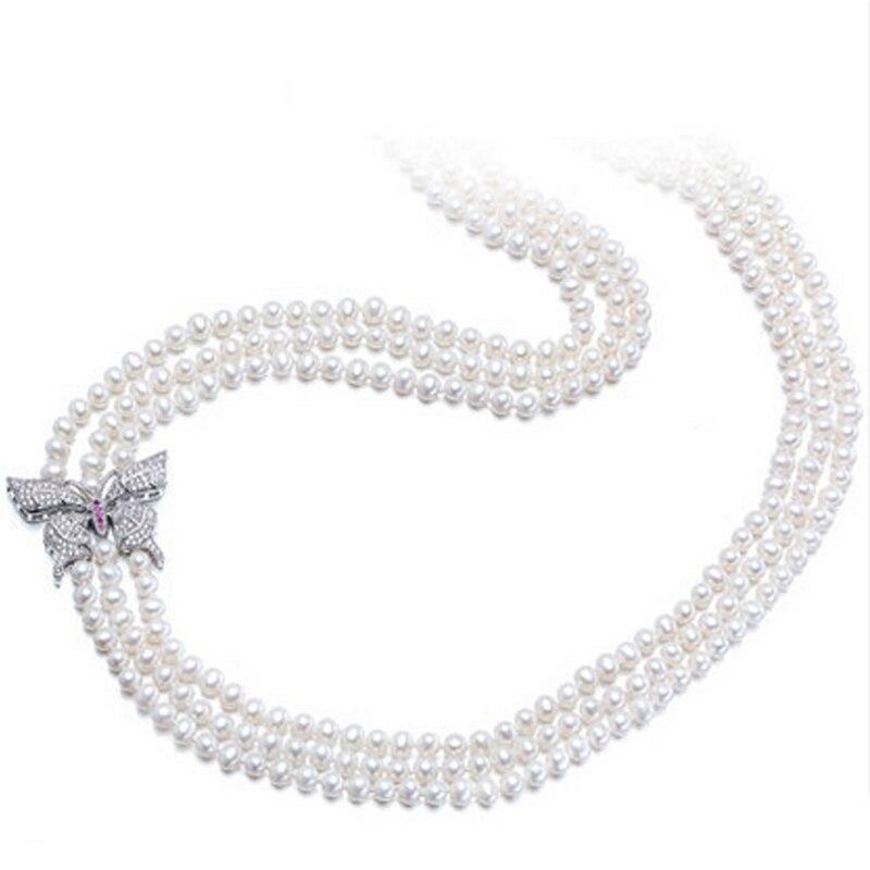 RUNZHUQIYUAN 2017 100% collier long de perles d'eau douce naturelles 5-6mm bijoux en argent véritable perle pour les femmes meilleurs cadeaux pour les filles