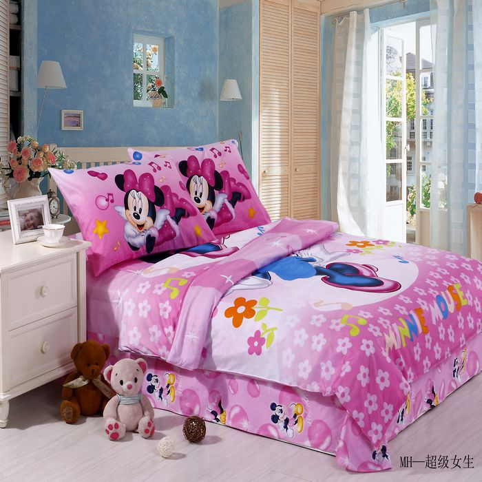 3/4/5PCS Twin Pretty Minnie Mouse Comforter Duvet Cover Bedding Girls Bed Linen Bedroom Sets Flowers Musical Note Patterned Pink