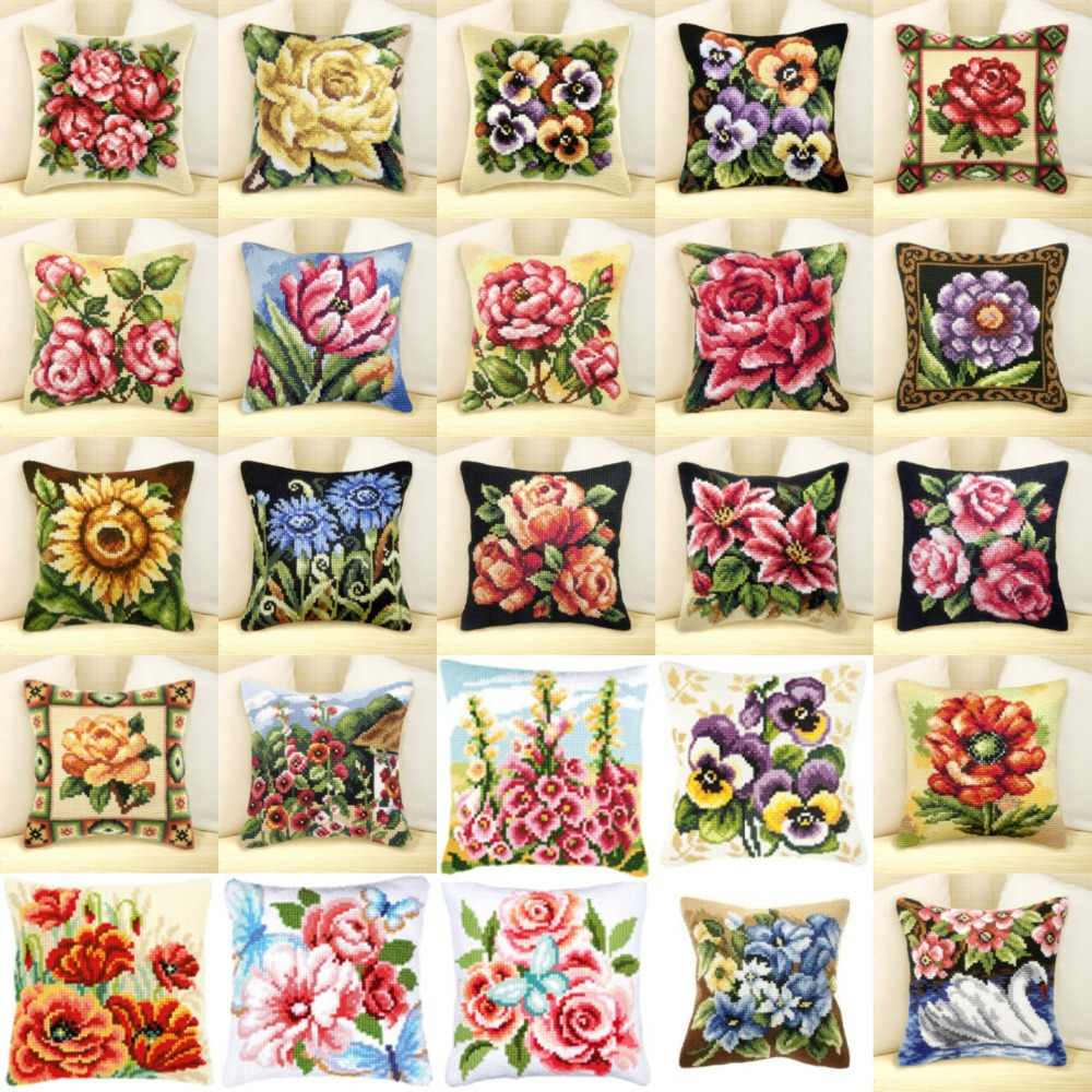 25 flowers NEW DIY Needlework Kit  Acrylic Yarn Embroidery Pillow Tapestry Canvas Cushion Front Cross Stitch Pillowcase JCS