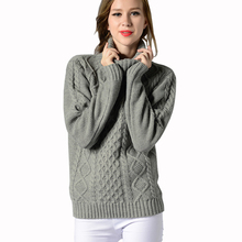 แฟชั่นของผู้หญิงใหม่ฤดูใบไม้ร่วงฤดูหนาวเสื้อกันหนาวคอเต่าR Etro A Rgyleท็อปส์วินเทจเรขาคณิตขนาดบวกสีทึบเสื้อถักเสื้อกันหนาว
