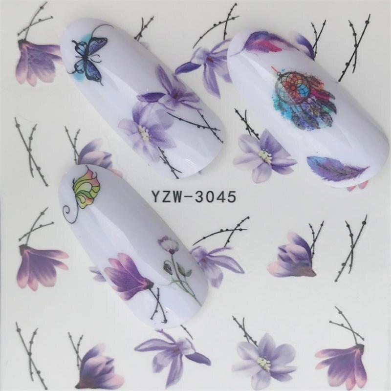 YZWLE стикер для ногтей художественное украшение слайдер лиса волк животное клейкая дизайнерская водная наклейка маникюрный лак аксессуары лак фольга - Цвет: YZW-3045