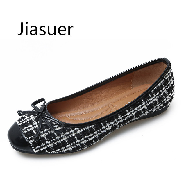 Jiasuer Fashion Shoes Woman Ballet Flats Plaid Cloth Shoe Bowknot  Comfortable Round Toe Casual Shoes Slip