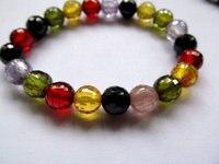 40 strands 3 4 мм кубический цирконий CZ камень roud мяч малиновый граненый многоцветная ювелирные изделия бусины браслет