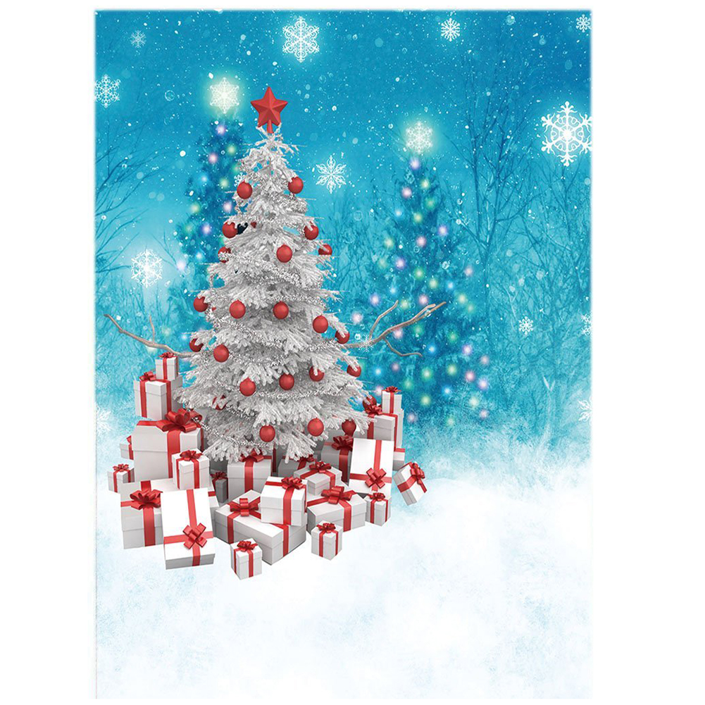 Thin Vinyl Studio Christmas Tree and Gifts and Snowflake Backdrop CP Photography Prop Photo Background 5x7FT