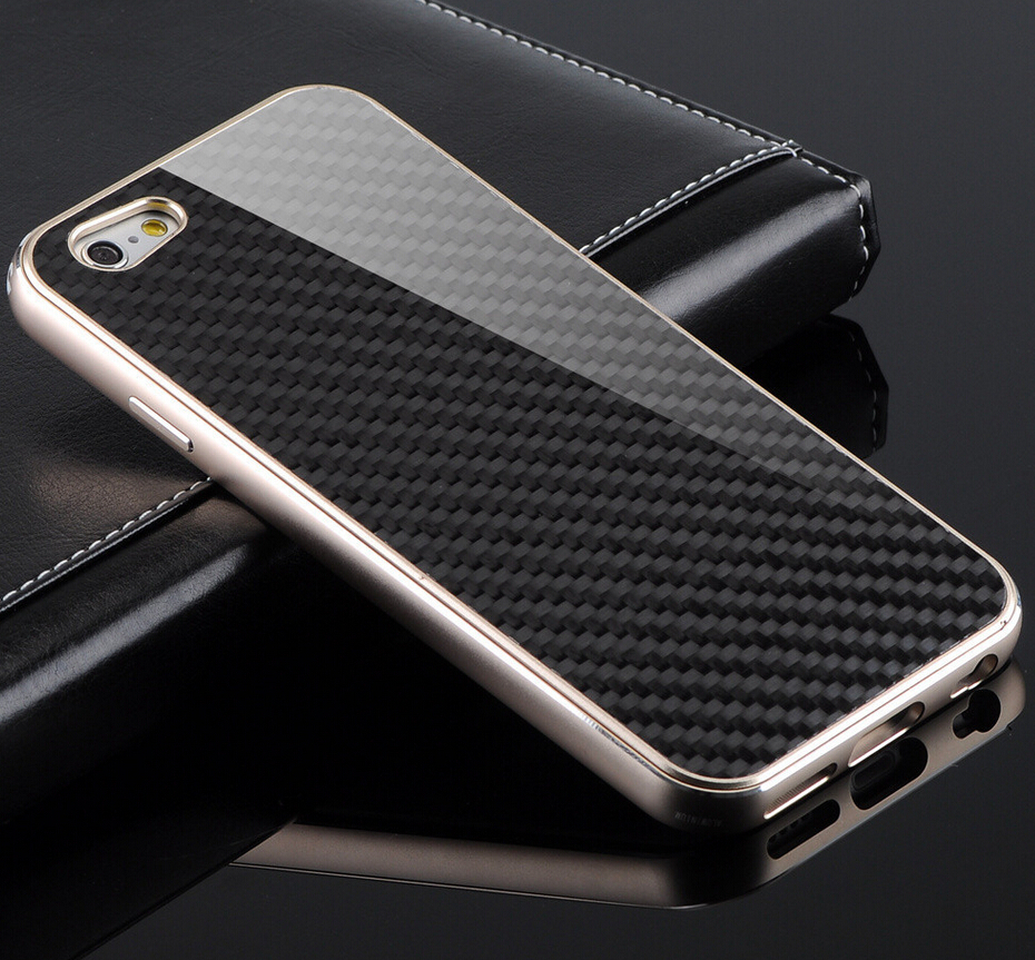 Premium Metal Aluminum Carbon Fiber Element Cover Case For Apple iPhone 6 Plus 5.5 Original Protective Phone Cases Bag Back Skin