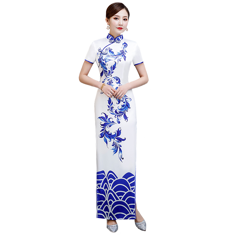 Sexy Long Cheongsam 2019 Vintage Chinese style Dress Fashion Womens Polyester Qipao Slim Party Dresses Button