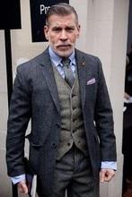 2018 Últimas Designs Brasão Pant Men Suit Terno de Tweed Cinza Escuro Slim Fit 3 Peça Suits Casamento Personalizado Smoking Do Noivo Blazer Masculino