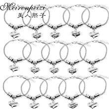 Свадебный подарок для мамы, папы, невесты, жениха, браслет, лучший друг, сестра, сердце, стразы, браслеты с подвесками, сердце, змеиная цепочка, браслет