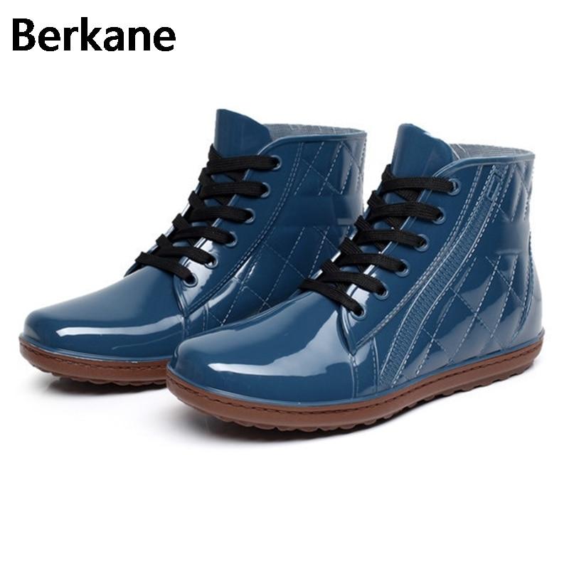 Lace Up Men Pvc font b Rain b font font b Boots b font Ankle Waterproof
