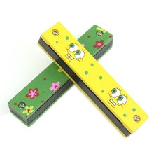 2 PCS of (Wooden Painted Harmonica Children Kids Musical Instrument Educational Music Toy)