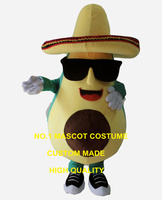 cool mexican avocado mascot costume with a big hat and sunglasses adult size cartoon fruit theme anime cosplay costumes 2592