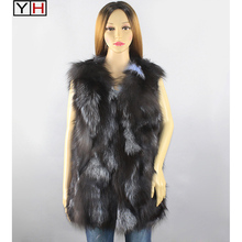 Hot Sale Women Real Fox Fur Vest Natural Real Sliver Fox Fur Long Style Warm Vest Lady Real Fox Fur Waistcoat Jacket