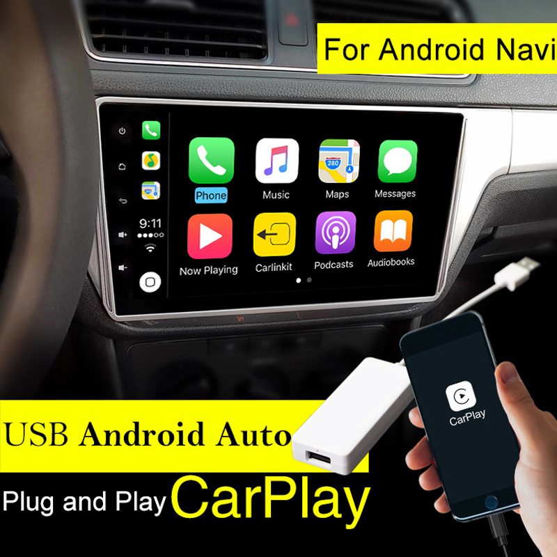 где купить Carlinke USB Apple Carplay Dongle for Android Auto iPhone iOS12 Carplay Support Android / MTK WinCE system Car Navigation Player дешево