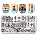1 Unid NACIDO PRETTY Rectangle Nail Art Stamping Plate Étnica Diseño 12*6 cm de Uñas de Manicura Plantilla BP-L048