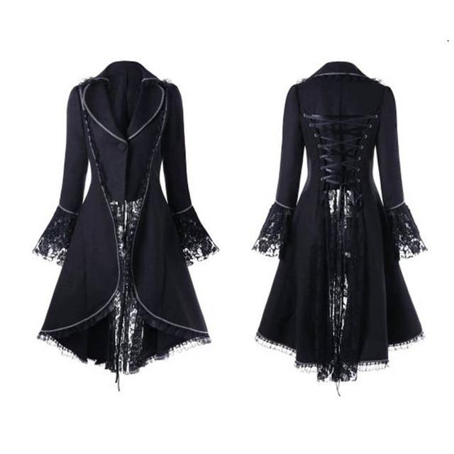 Femmes Vintage gothique à manches longues dentelle couture velours smoking veste médiévale aristocratique dames Vampire robe Lolita Cosplay #6
