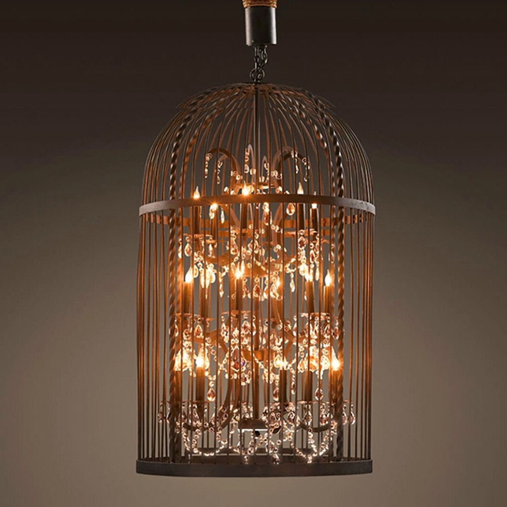 Retro loft k9 crystal cage chandelier iron fixture led droplight retro loft k9 crystal cage chandelier iron fixture led droplight dining room cage lamp new in chandeliers from lights lighting on aliexpress alibaba arubaitofo Image collections