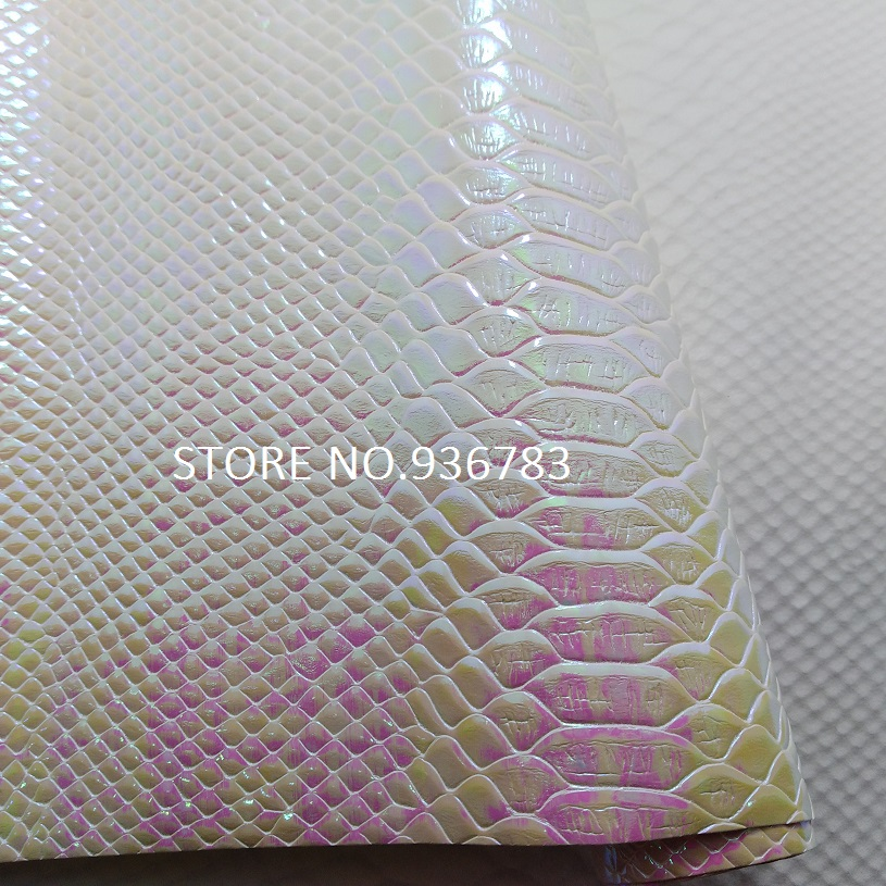 M006-1 30X134cm Embossed Snake Python Grain Synthetic Leather, Pearlized Snake PU Leather