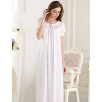 Princess Nightdress Solid Cotton Sleepwear Round Neck Short Sleeve Night Gown Ankle length Simple Comfortable Nightgowns PT1616