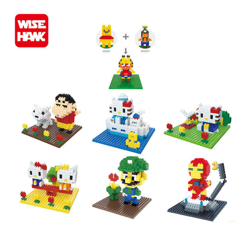 WiseHawk nano blocks Kawaii 7 styles animals action figures scene 3d plastic building bricks diy cartoon model educational toys. wisehawk hot plastic nano blocks kawaii anime cartoon one piece luffy action figures building bricks diy models educational toys