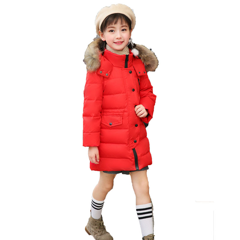 Winter Children 80% White Duck Down Jacket Boys Girls Warm Real Fur Collar Hooded Snow Coat Parka Kids Thick Outerwear Coat E249 girls winter coat 30 degree snow wear children parka coat hooded fur collar velvet clothes kids thick warm jackets for girls