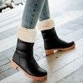 Nueva tacón Chunky mitad de la pantorrilla botas para la nieve botas felpa botas de invierno zapatos grandes del tamaño de la gota
