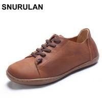 SNURULAN 35 42 Women Shoes Flat 100 Authentic Leather Plain Toe Lace Up Ladies Shoes Flats