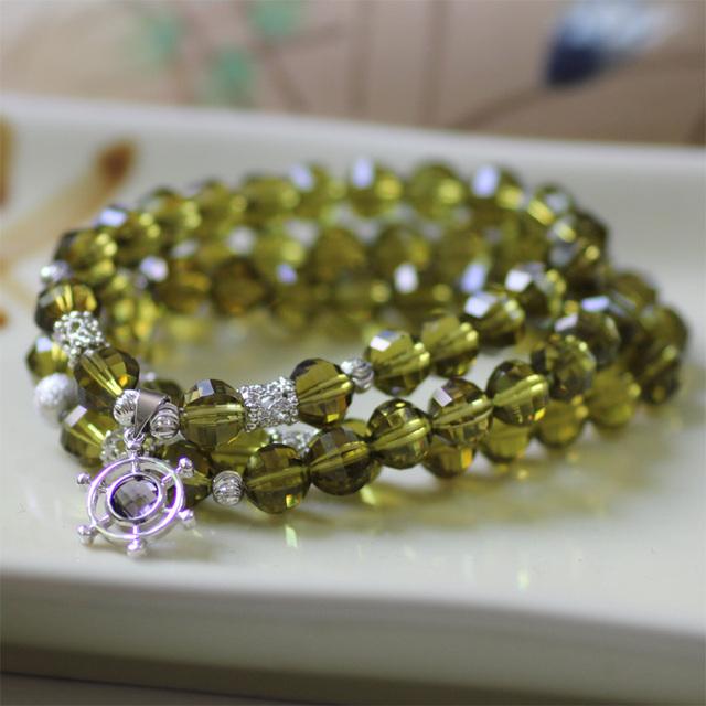 Feminino New Cystal Pulseiras Cor Da Moda com Três Layors Compor com Elegante Pingente de Cristal Pulseira