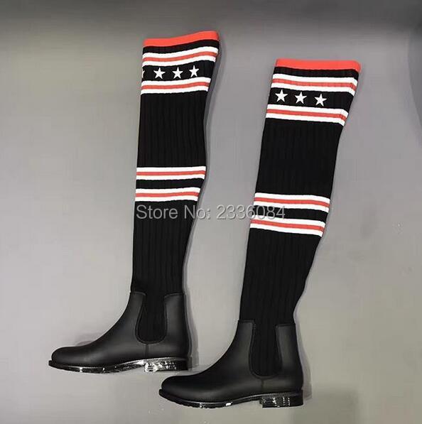 Новая мода знаменитости Стиль Tight Высокие сапоги полосатый над коленом носок сапоги кожаные сапоги для Для женщин осенние ботинки эластичн...