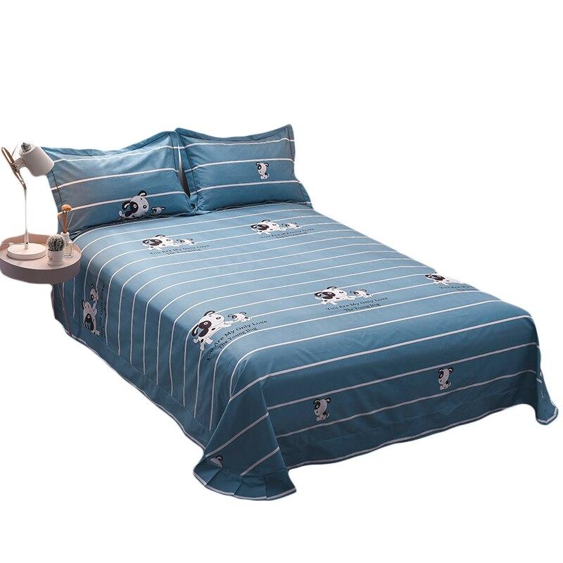 Ensemble de literie motif chien dessin animé rayé bleu 3 pièces drap de lit King Size ensemble pour drap plat lit Queen avec taie d'oreiller