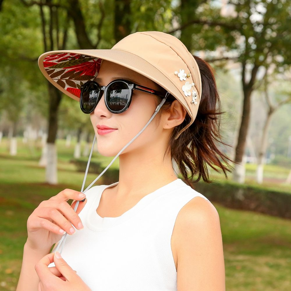 1PC Summer Lady Cotton Sun Hats Women Packable Sun Visor Hat With Big Heads Wide Brim UV Protection Beach Outdoor Caps