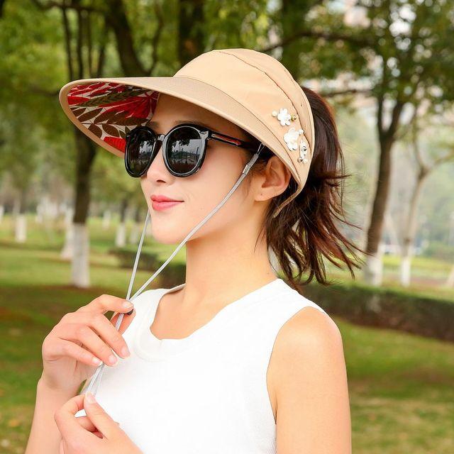 f148644edd7 1PC Summer Lady Cotton Sun Hats Women Packable Sun Visor Hat With Big Heads Wide  Brim UV Protection Beach Outdoor Caps