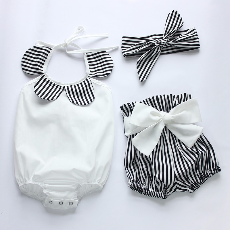 Baby Girl Infant 3pcs Clothing Sets Suit Princess Tutu Romper Dress/Jumpersuit Party Birthday Costumes Vestidos