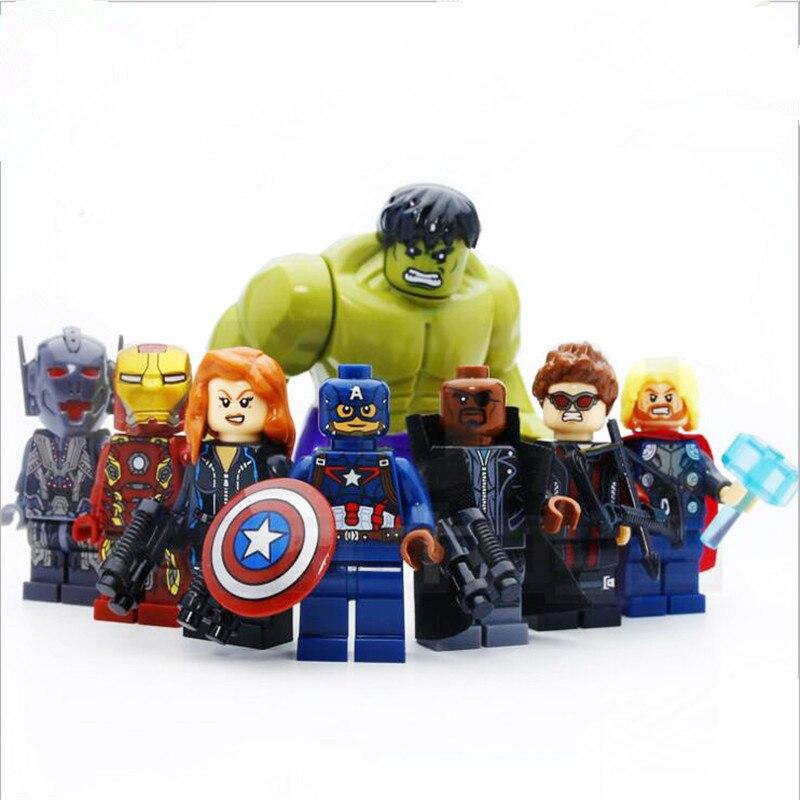 Venta caliente 4,5 cm 8 unids un conjunto Super héroe ensamblar bloques de construcción rompecabezas ensamblar juguetes Avenger modelo niño niña juguetes interesante regalo