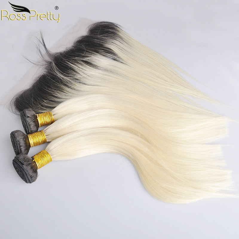 Ross Pretty Remy Peruvian Straight Hair Weave Bundles With Frontal Ombre Color 1b 613 Lace Frontal With Bundle Black With Blonde