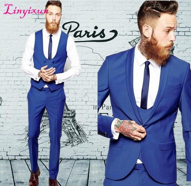 Linyixun Sur Mesure Groom Smokings Costumes D affaires Classique Noir Pas  Cher bleu Blazer Hommes 04a6503f50f