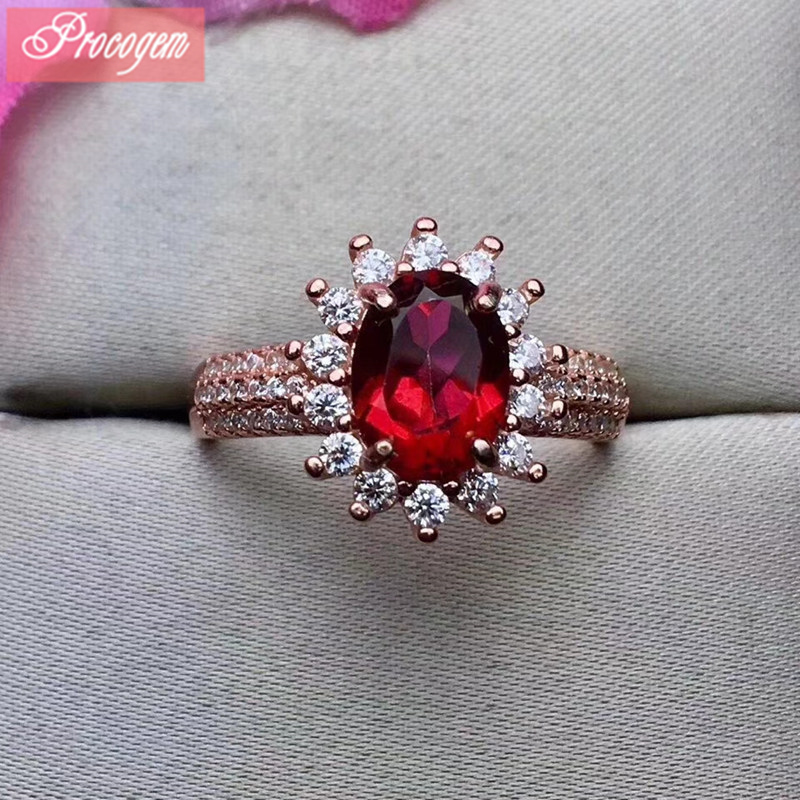 Natural Trendy Blood red Topaz Rings for Women Ladies Engagement 6x8mm Faceted nice rings 925 Sterling silver fine Jewelry #250Natural Trendy Blood red Topaz Rings for Women Ladies Engagement 6x8mm Faceted nice rings 925 Sterling silver fine Jewelry #250