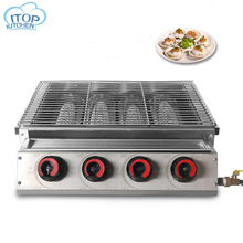4 Burner Big BBQ Grill LPG Gas Barbecue Roasted Stainless Steel with Glass Cover CE Certification For Outdoor Picnic