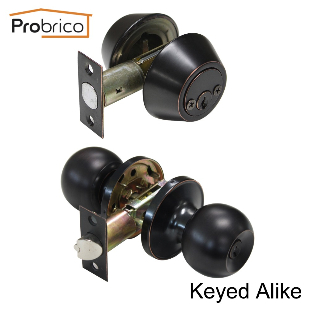 Probrico Stainless Steel Keyed Alike Entrance Door Lock With Two Side Deadbolt Oil Rubbed Bronze Door Handle Knob DL607ET-102ORB top quality 304 stainless steel interior door lock big 50 small 50 series bedroom door anti insert handle lock