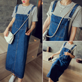 2017 New Fashion Summer Denim Dress Casual Sexy Denim Loose Strap Casual Long Denim Dress Blue Overalls Jeans Dress Vestido C49
