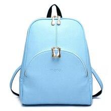 2016 Fashion Backpacks Women PU Leather School Bag Girls Female Candy Colors Travel Shoulder Bag Waterproof BackBags Mochila 480