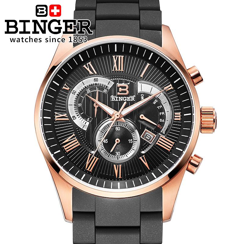 Switzerland men's watch luxury brand Wristwatches BINGER Quartz watch full stainless steel Chronograph Diver glowwatch BG-0407-5 switzerland men s watch luxury brand wristwatches binger quartz watch full stainless steel chronograph diver glowwatch bg 0407 4