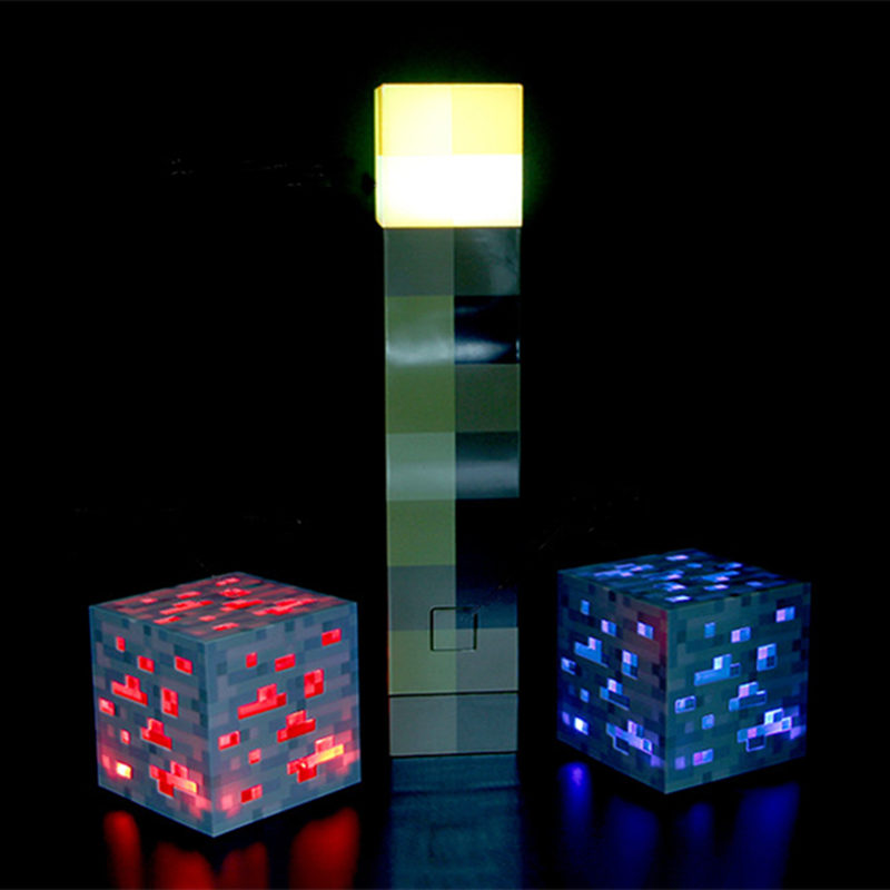 Original Minecraft <font><b>Action</b></font> Figure Torch Minecraft Hand Held Wall Mount Popular Redstone Ore Square Minecraft Light Model Toys