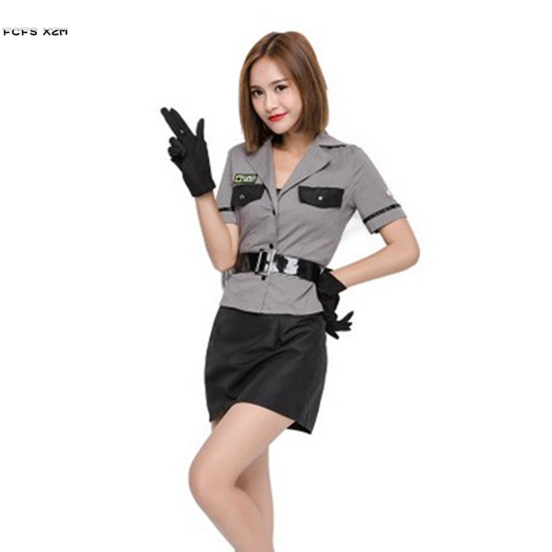 Female Policewoman Cosplay Women Halloween Police Costume SWAT Special forces Role play Carnival Purim Nightclub Bar party dress