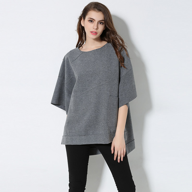 2d62c81f512 New 2017 Fashion Women Spring batwing sleeve casual tops juniors woolen  blouse loose fit asymmetrical tops plus size XXXXXL 6769