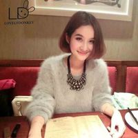 New Genuine Mink Cashmere Sweater Women Long Cashmere Pullovers Knitted Pure Mink Jacket Customized Color Free